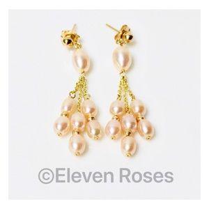 Jewelry - 14k Gold Pearl & Chain Triple Drop Dangle Earrings
